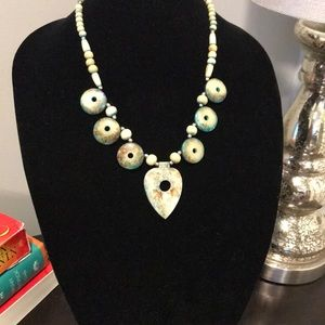 Natural Wood Silver Beaded Necklace